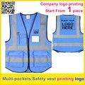 Empresa de impresión personalizada logotipo azul reflectante de Seguridad chaleco de seguridad chaleco de trabajo chaleco tráfico uniforme envío gratis