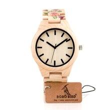 BOBO BIRD Marca Diseñador UV Priting de Pino De Madera Del Reloj Para Los Hombres de las mujeres Del Cuarzo de Japón 2035 Reloj Ocasional Relojes Con Caja de Regalo Relogio