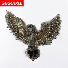 GUGUTREE rope embroidery beaded big eagle patches bird badges applique for clothing XC-435