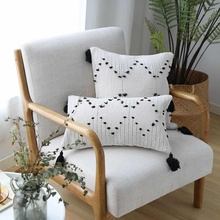 White Black Geometric cushion cover Tassels pillow cover Woven for Home decoration Sofa Bed 45x45cm/30x50cm