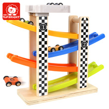 Top Bright Wooden Track Race with parking Car Drop Glide Sliding Baby Kids Child Wooden Classic Toy for Boy Gifts