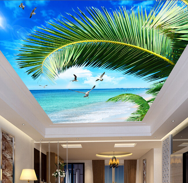 Custom wallpaper ceiling, palm sea blue sky murals for the living room ceiling apartment hotel background wall vinyl wallpaper custom 3d stereo ceiling mural wallpaper beautiful starry sky landscape fresco hotel living room ceiling wallpaper home decor 3d