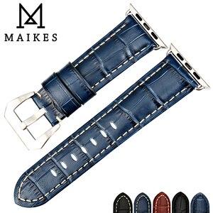Image 3 - Maikes moda azul pulseira de couro para apple assistir banda 44mm 40mm 42mm 38mm série 4 3 2 iwatch pulseira pulseiras