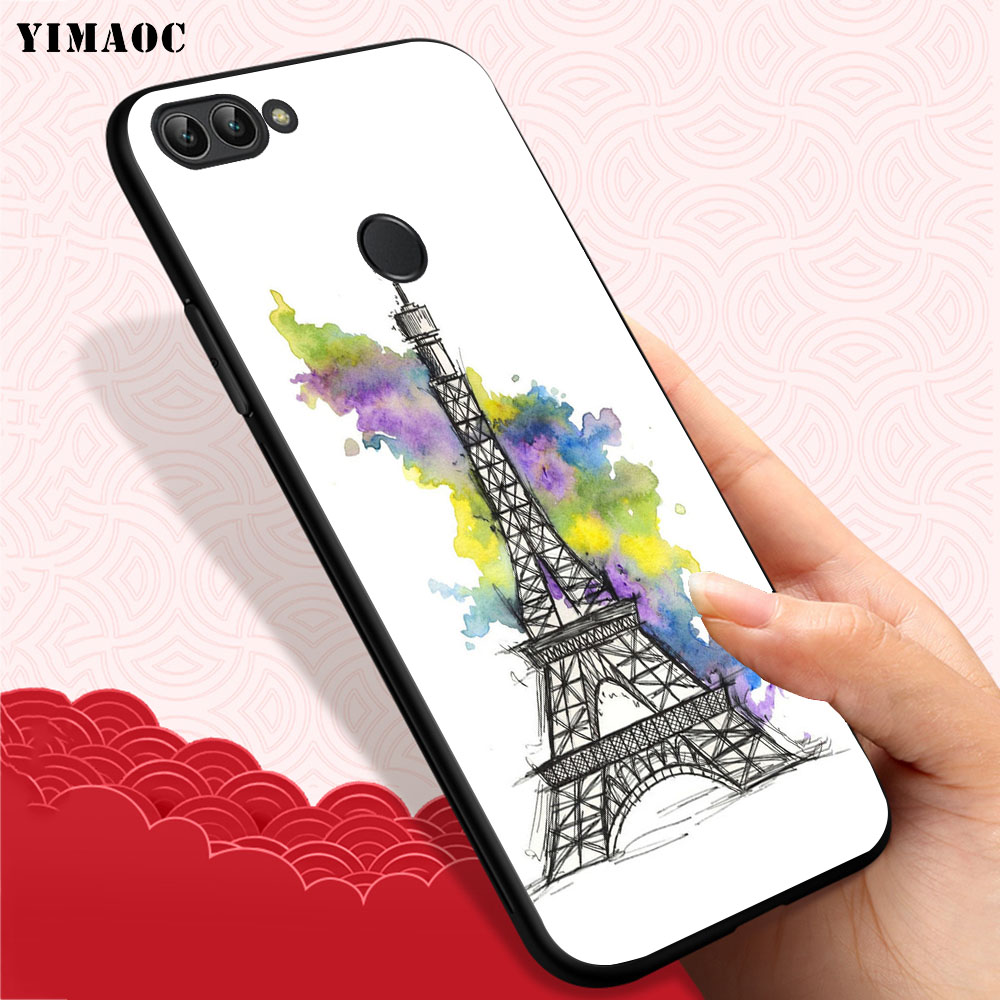 YIMAOC Eiffel Tower Paris Soft Case for Huawei Honor Note 10 9 Lite 8C 8X 8 Lite 7X 7A 3GB Pro 7C 6A in Fitted Cases from Cellphones Telecommunications