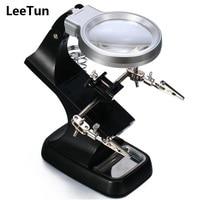 LeeTun 3X 4 5X Multifunctional Soldering Welding Magnifier Stand Desktop Third Helping Hands With 10 LeD