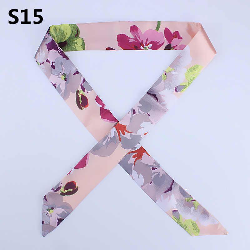 Foulard en soie maigre pour les femmes petites écharpes de cou bande de cheveux d'impression florale rubans de Satin femme sac à main écharpes cravate 2019 chaude