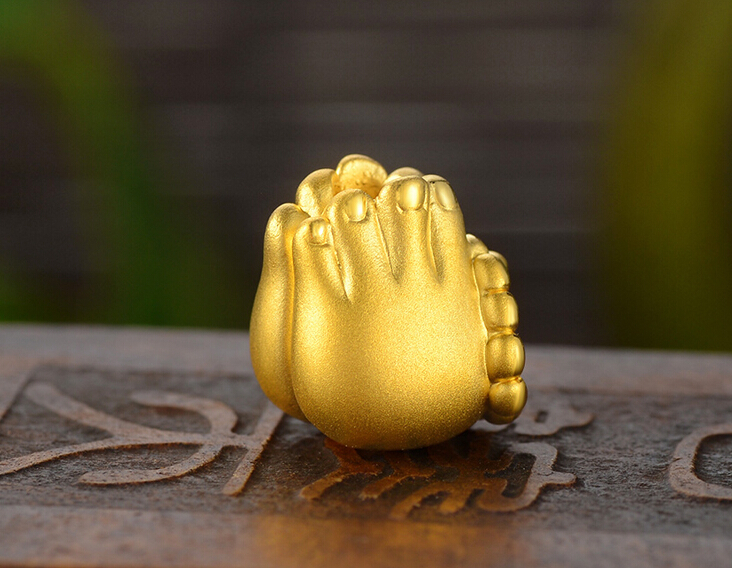 New Pure 24k Yellow Gold Pendant 3D Lucky Bless Buddha Bead Hand Pendant hot sale new pure 24k yellow gold pendant 3d craft lucky number 3 pendant 1 68g