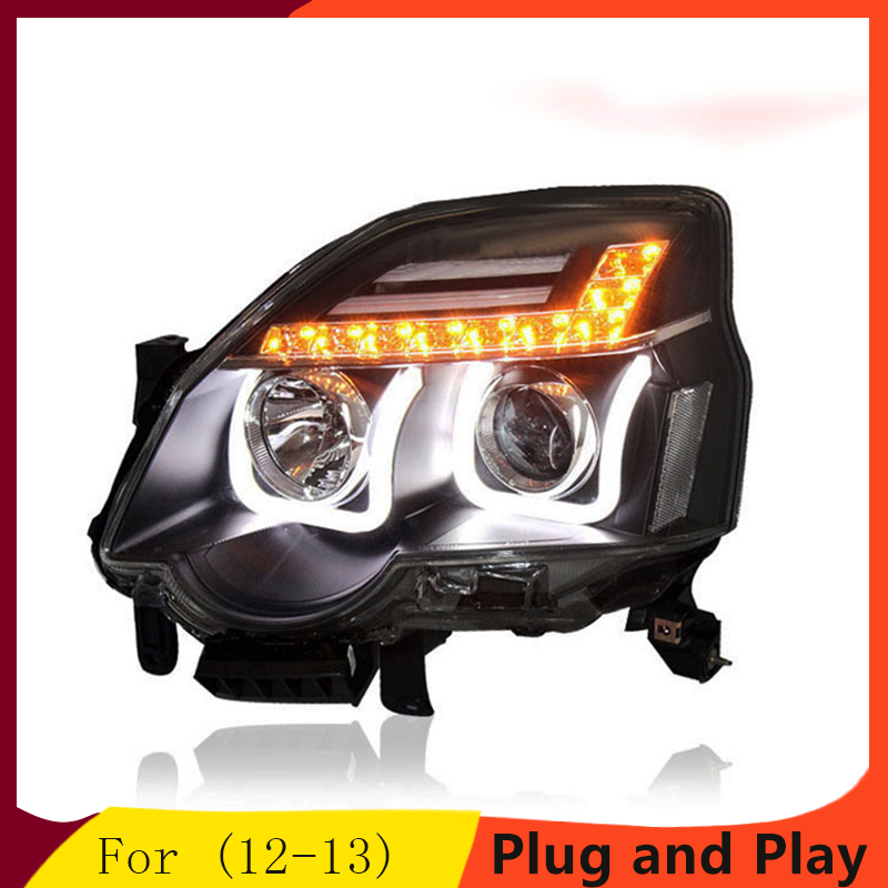 Auto Fari per Nissan X-trail LED xtrail 12-13 Del Faro LED DRL Doppia Lente Fascio HID KIT xeno Del Faro Anteriore luce
