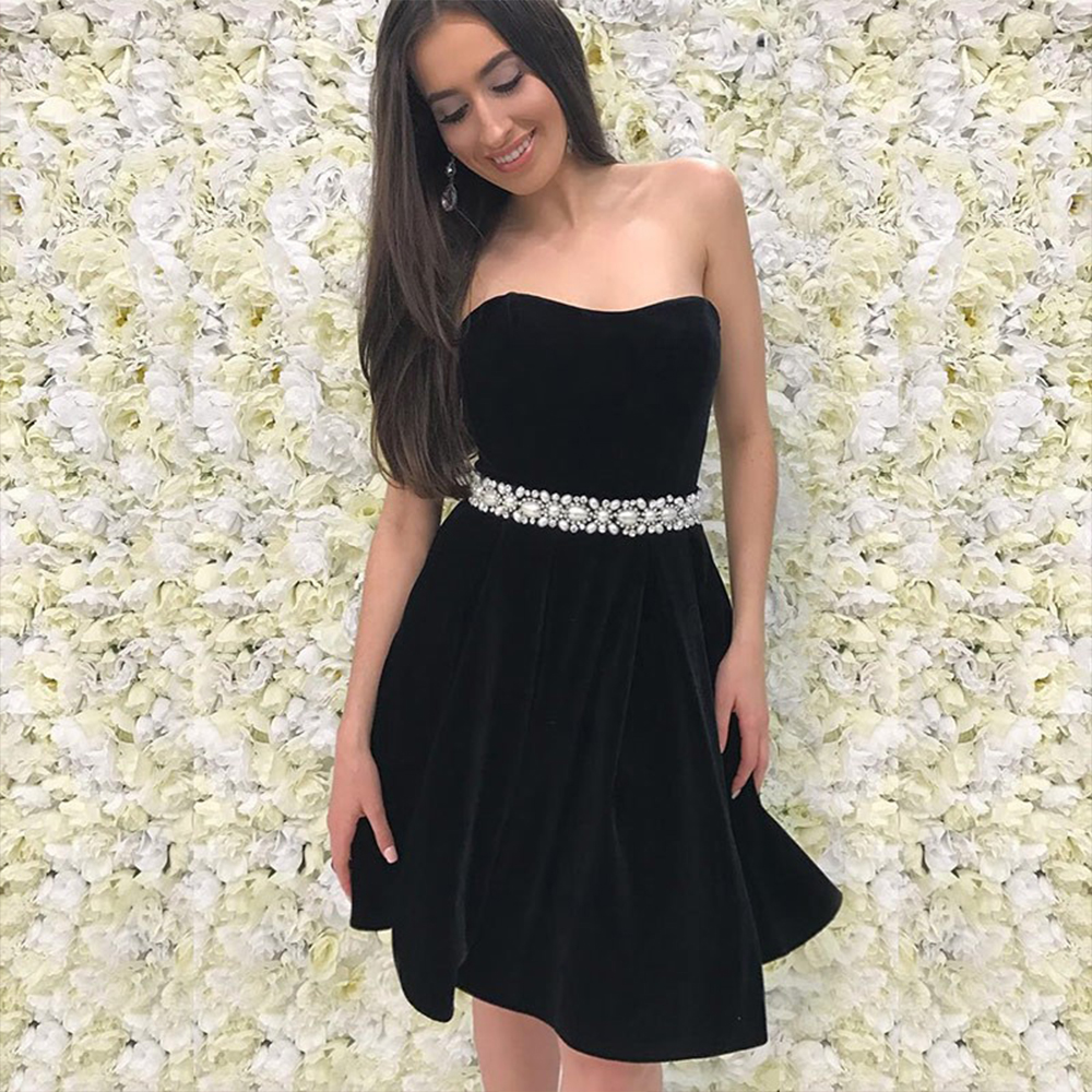 Bbonlinedress Sweetheart Homecoming Dress Black Cocktail Short Beading Prom Red Mini Party Dresses 2019