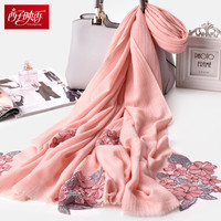 Flower Embroidery Scarf 100% Wool Scarf Stoles Cashmere Pashmina Warm Shawls Long Blanket Winter Scarf Winter Pure Wool Scarf