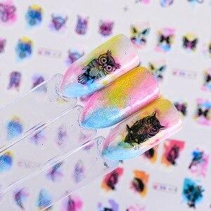 Image 2 - 12 projekt akwarela naklejka do paznokci naklejki DIY sowa z kwiatami i piórami suwak tatuaże Manicure okłady na zdobienie paznokci dekoracje BN409 1200