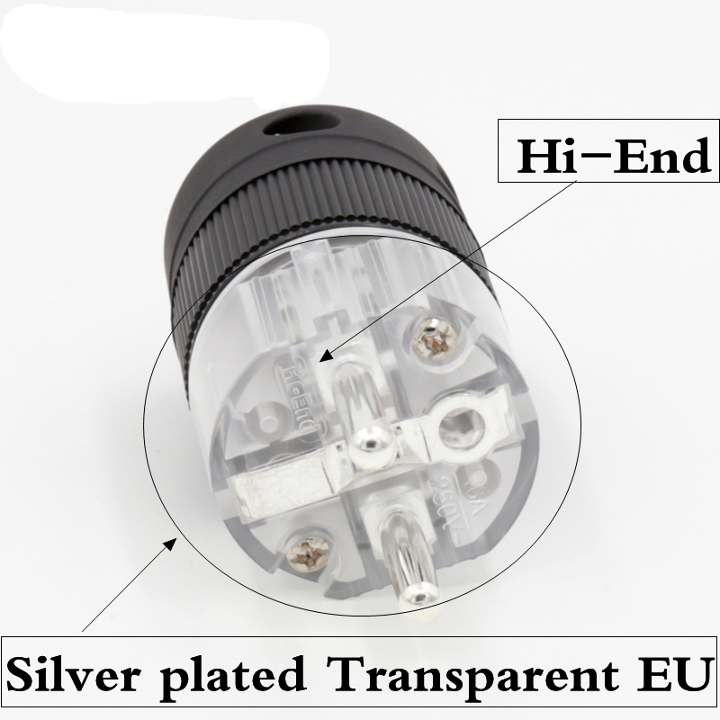2pcs Hifi Hi-End Silver plated Transparent  Schuko  EU power plug for Audio  power cable extension adapter  viborg audio hi end pure copper 24k gold plated eu schuko power plug for hifi diy power cable extension adapter