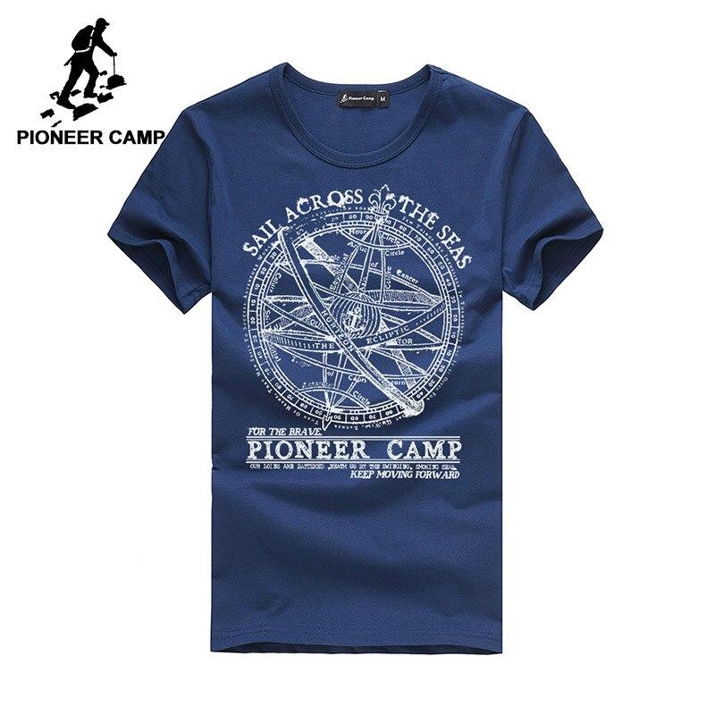 Camp pionnier 2017 hommes t shirt hommes marque de mode conception jolie coton jeune blanc mince droite t-shirts o-cou 405038