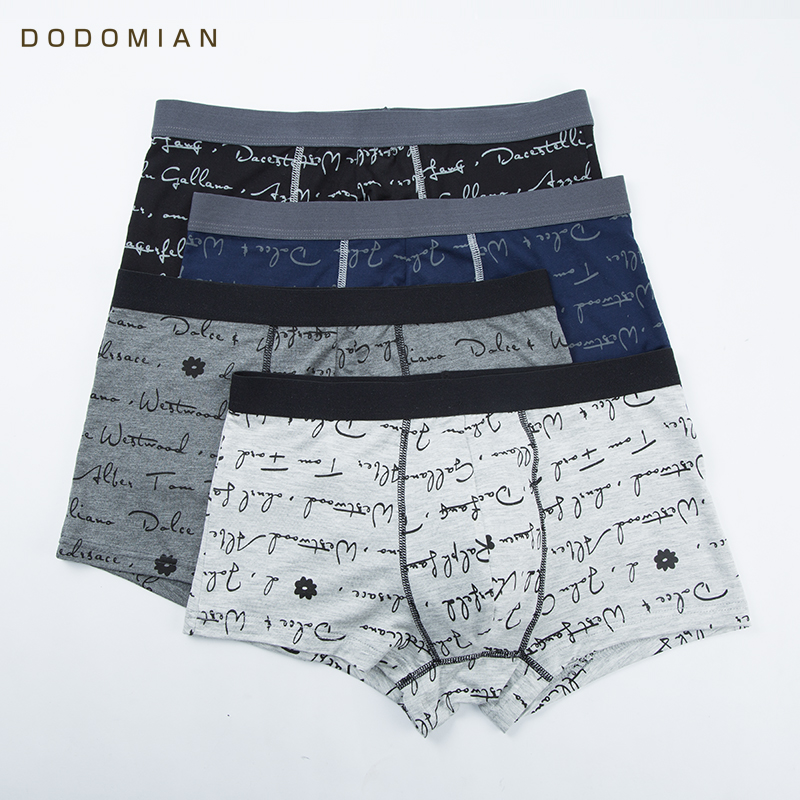 DO DO MIAN 2018 Boxers Men Underwear Cotton 4pieces/lot Male Underwear Shorts Plus Size Print Letter Underpant Soft Cueca Boxer