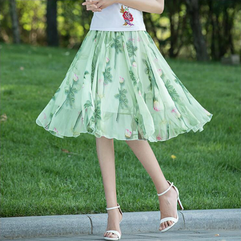 2018 new summer Fashion casual Elastic waist female women girls Flowers Brand chiffon skirts clothes 79089
