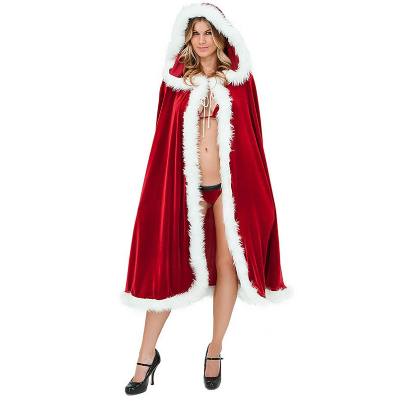 Red riding hood christmas costume adult santa cape holiday fancy dress