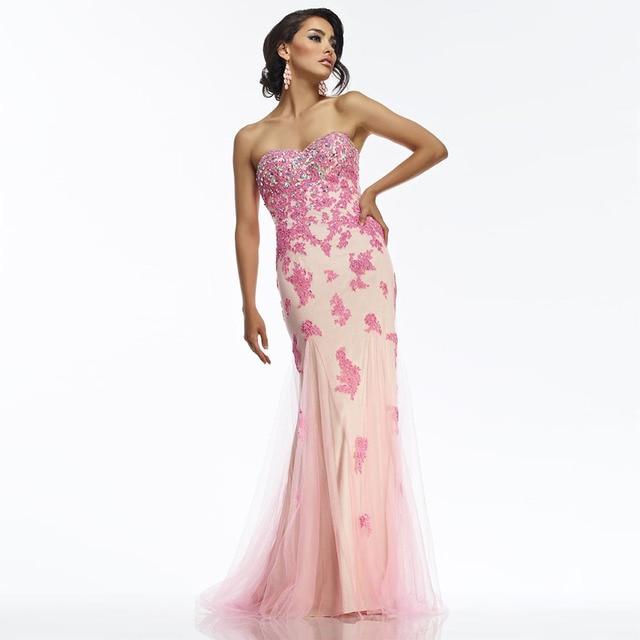 Elegante 2017 de Encaje Rosa Sirena Vestidos de Noche Baratos ...