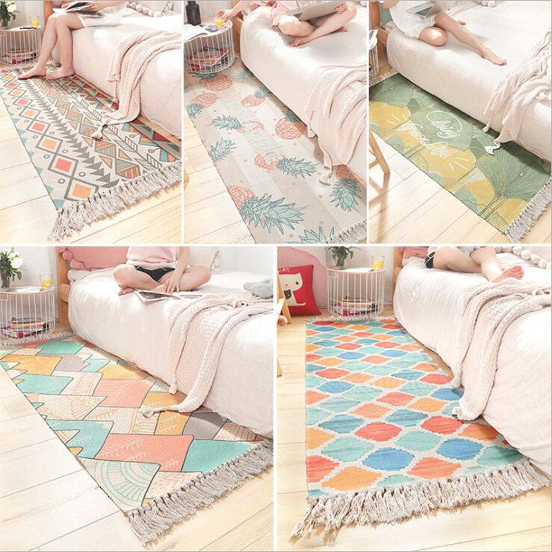 Tapis doux de chambre à coucher de coton délicat pour le salon tapis de Table de chambre d'enfant tapis de maison tapis de porte de plancher décorer tapis de zone de maison - 5