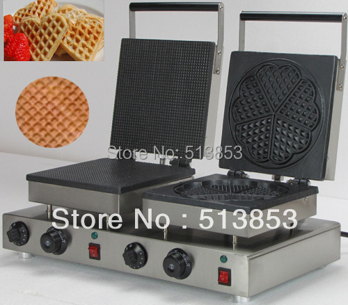 High Quality Doulbe-Head Electric Ice Cream Cone + Heart Shape Waffle Maker Machine Baker free shipping high quality doulbe head electric cream cone round waffle maker machine baker