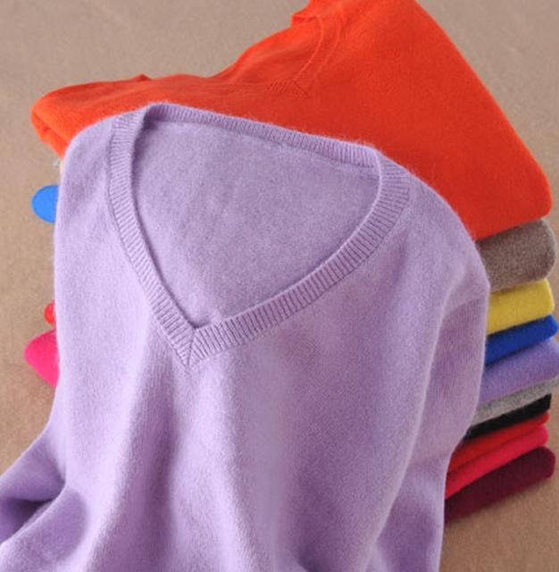 S para 5XL das Mulheres Suéteres e Pulôveres de Cashmere Macio Elástico Outono Inverno Camisola de Decote Em V de Lã Feminino de Malha Marca Pullover