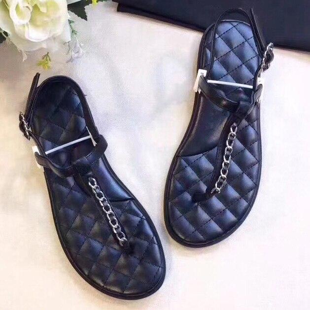 Женские сандалии с цепочками и заклепками, крутые летние женские пляжные сандалии на плоской подошве, женские сандалии гладиаторы с пряжко