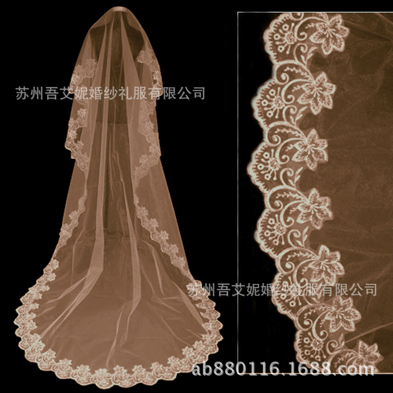 Wholesale Bridal Veil T06 3 M Champagne Lace Embroidery