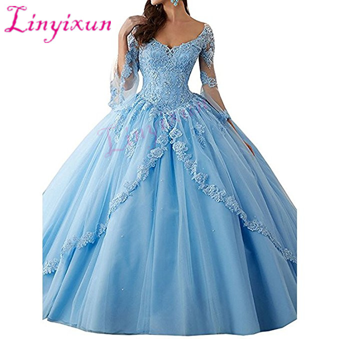 New Quinceanera Dresses 2018 Pageant Ball Gown Long sleeve Prom Party Dresses Pink Tulle Applique Lace