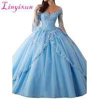 New Quinceanera Dresses 2018 Pageant Ball Gown Long sleeve Prom Party Dresses Pink Tulle Applique Lace Sexy 16 Dresses