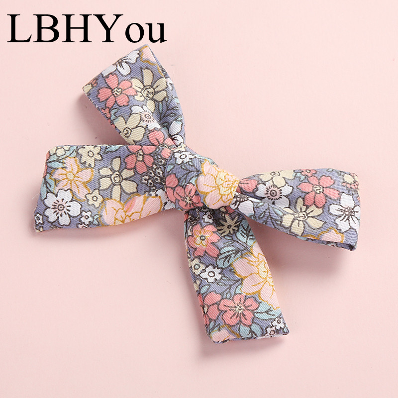 1pcs 100% Cotton Handtie Hair Accessories Summer Prints Baby Girls Hair Clips Infants Toddler Hair Bows Hairpins