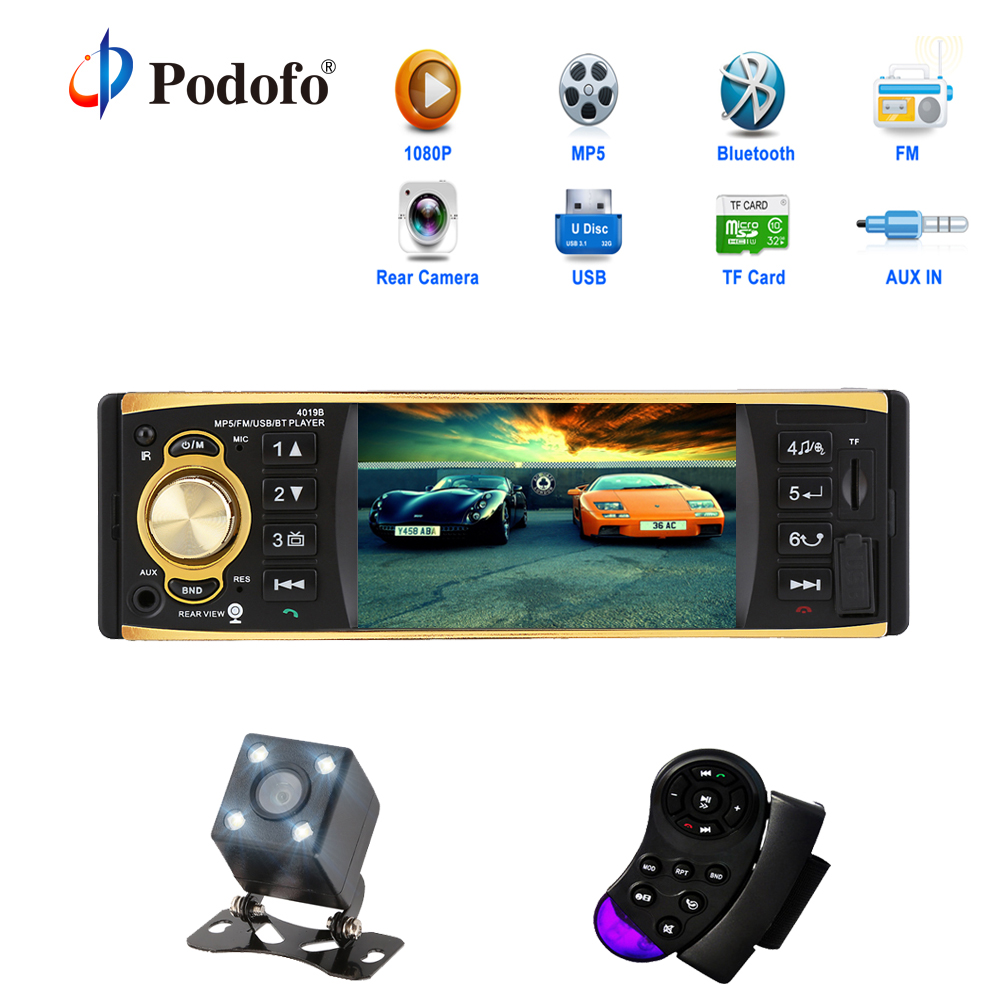 Podofo 4,1 pulgadas 1 Din coche Radio estéreo de Audio AUX FM Radio Bluetooth Autoradio con retrovisor cámara Control remoto