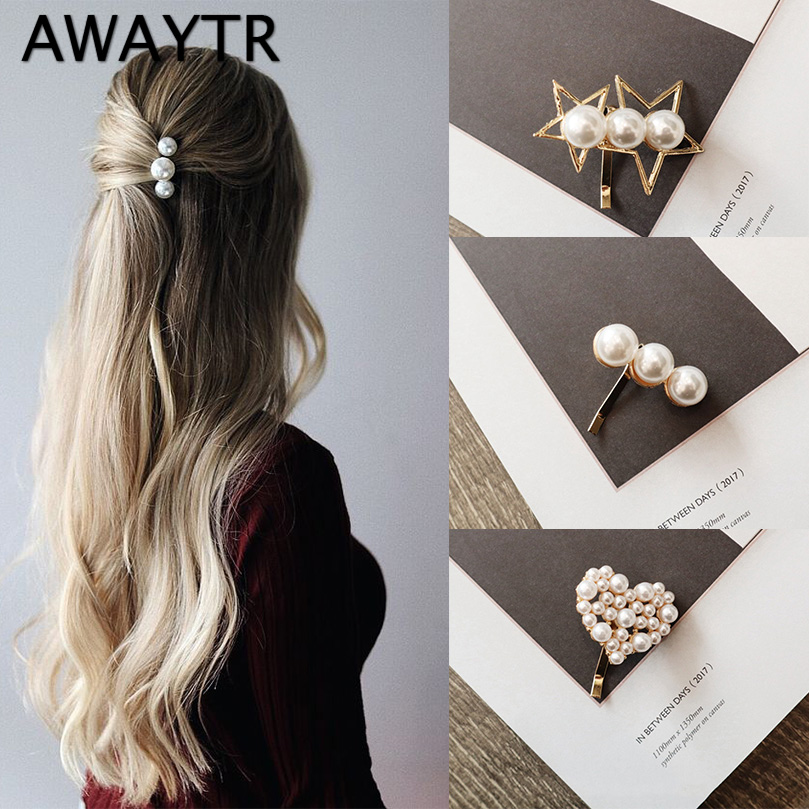 AWAYTR 2pcs/Set Korean Fashion Pearl Hair Clips For Women Hairpin For Girls Sweet Wedding Hair Accessories Headwear