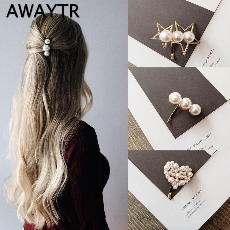 AWAYTR 2pcs/Set Korean Fashion Pearl Hair Clips For Women Hairpin For Girls Sweet Wedding Hair Accessories Headwear