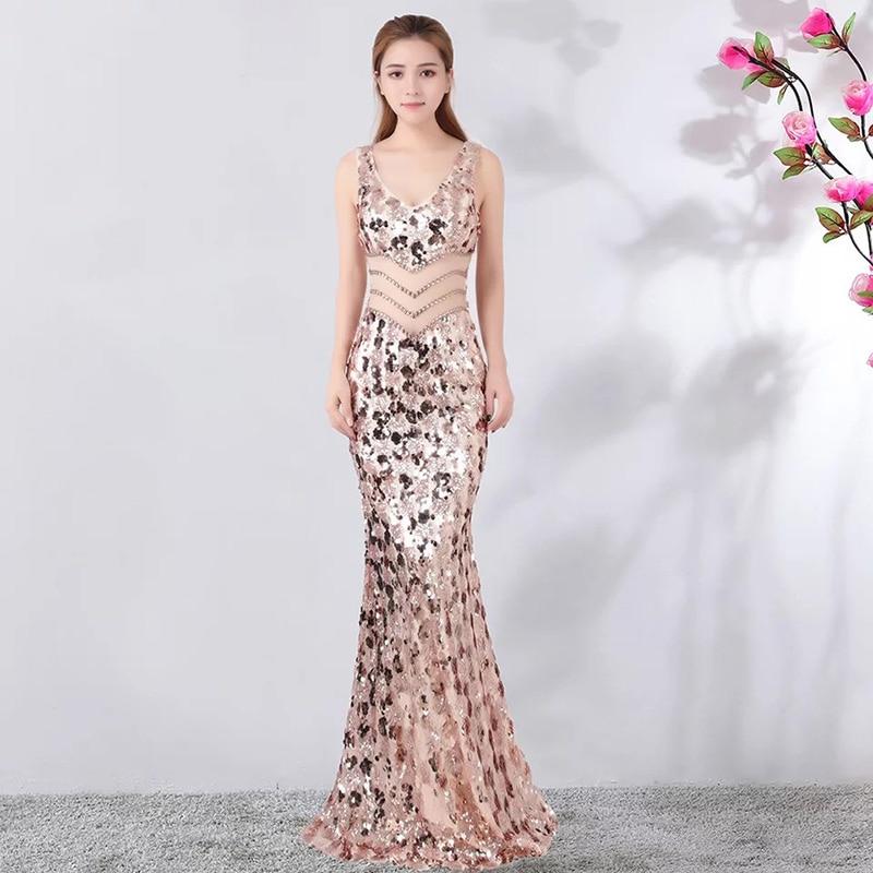 D057 or rose v-cou pailleté longueur de plancher évider longue robe de dames