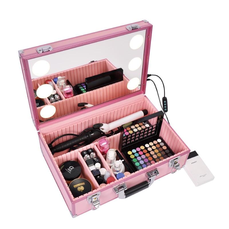 as As 6 Portable Led Neue up Art Beleuchtete Picture Mit Lagerung Box Einstellbare Picture Make Fall Spiegel Beauty Tasche ZBZTwrq