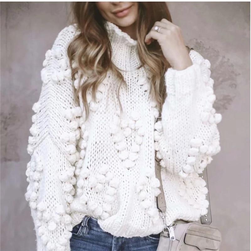 Suéter de punto hecho a mano de lana gruesa de otoño mujeres medio cuello alto perezoso lana áspera tejida linterna manga 3D hilo jersey de bola