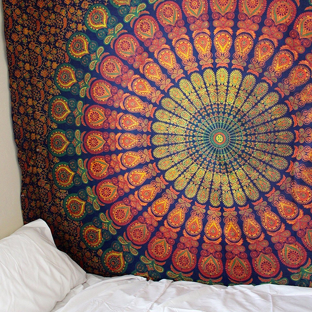 Large 200x150cm Mandala Indian Tapestry Wall Hanging Bohemian Beach Mat Polyester Blanket Yoga Mat Home Bedroom Art Carpet
