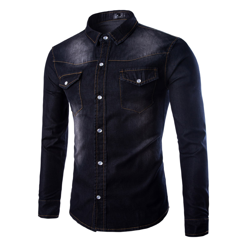 2019 Fashion Mens Denim Shirt Long Sleeve Cotton Jeans Cardigan Casual Pure Color Slim Fit Shirts Men Two-pocket Tops Clothing