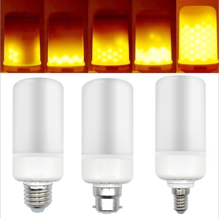 New LED Simulation Dynamic Flashing Style Flame Lamp Corn Candle Torch Fireball Flame Bulb