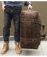 Men Travel Bag Duffle Large Capability Genuine Leather 27 Weekend Bags 2018 Man Tote Business Vintage Designer Handbag Bag