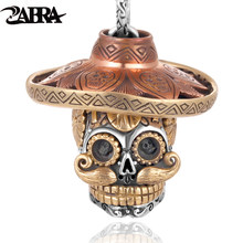 ZABRA Most Luxury 925 Sterling Silver Skull Pendant Necklace Heavy Gold Copper Cross Jesus Gothic Skeleton Pendants Jewelry(China)