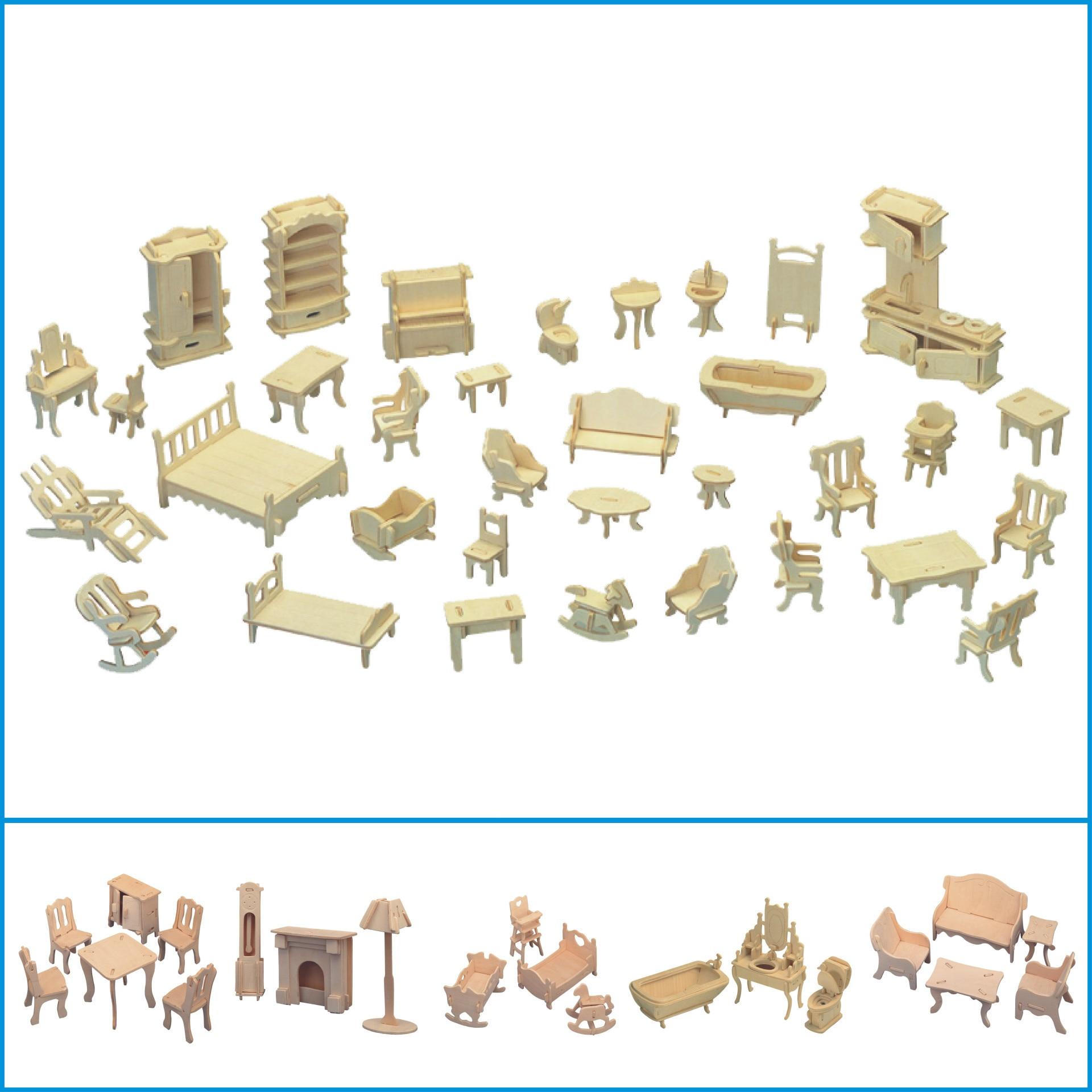 Corte a laser mini 3d quebra-cabeça de madeira, diy, modelo de construção, brinquedos em miniatura 1:12, casa de bonecas, móveis para bonecas, presente para crianças