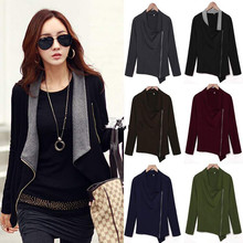 Fishion Spring Autumn Jacket Korean Version Slim Turn Down Lapel Collar Side Zipper Coat Women Cardigan chaquetas mujer Blusas