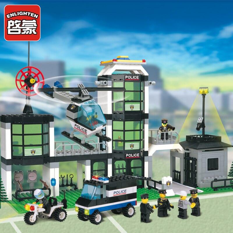 Osvícení policejní stanice Vzdělávací budovy Bloky Hračky pro děti Děti Dárky Mini Doll Car Helicopter Moto Zbraň City Hero