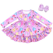 Girls Winter/Spring Dress Long Sleeve Cute Party Dress Girls Milksilk Boutique Clothing Match Bow Wholesales