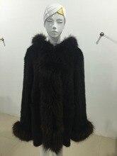 Mink knitted cap long fox edging