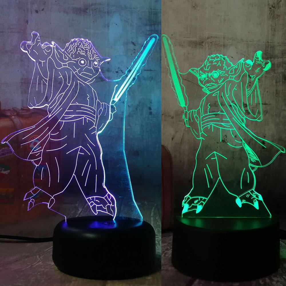 Erstaunliche 3D Lampe Star Wars Juda Yuda 7 Farbe Nacht Licht ...