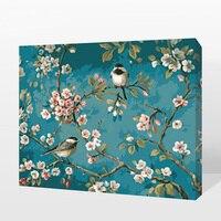 Diy 디지털 유화 꽃 장식 블루 그림 수제 유화 페인트 색칠 plum 꽃 나무 아트