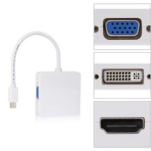 3 in 1 Mini Displayport DP Thunderbolt to DVI VGA HDMI Adapter Cable For MacBook