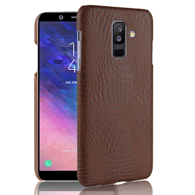 quality design b173a 9bac7 US $2.89 31% OFF|For Samsung Galaxy A6 Plus Case Luxury Business Crocodile  Skin Leather PC Hard Case For Samsung A6 A 6 Cover Phone Bag (E0520)-in ...