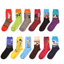 12 Pairs Oil Painting Art Wedding Socks Men's Fashion Younger Cool Jacquard Crew Gift Socks Four Seasons European Trendy Sox